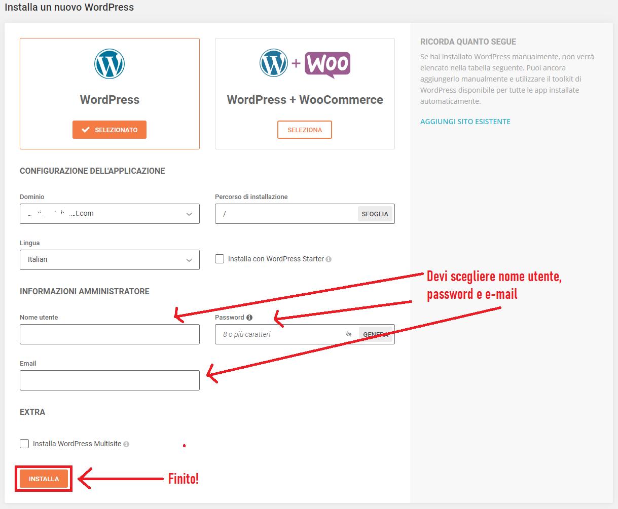 installare siteground wordpress