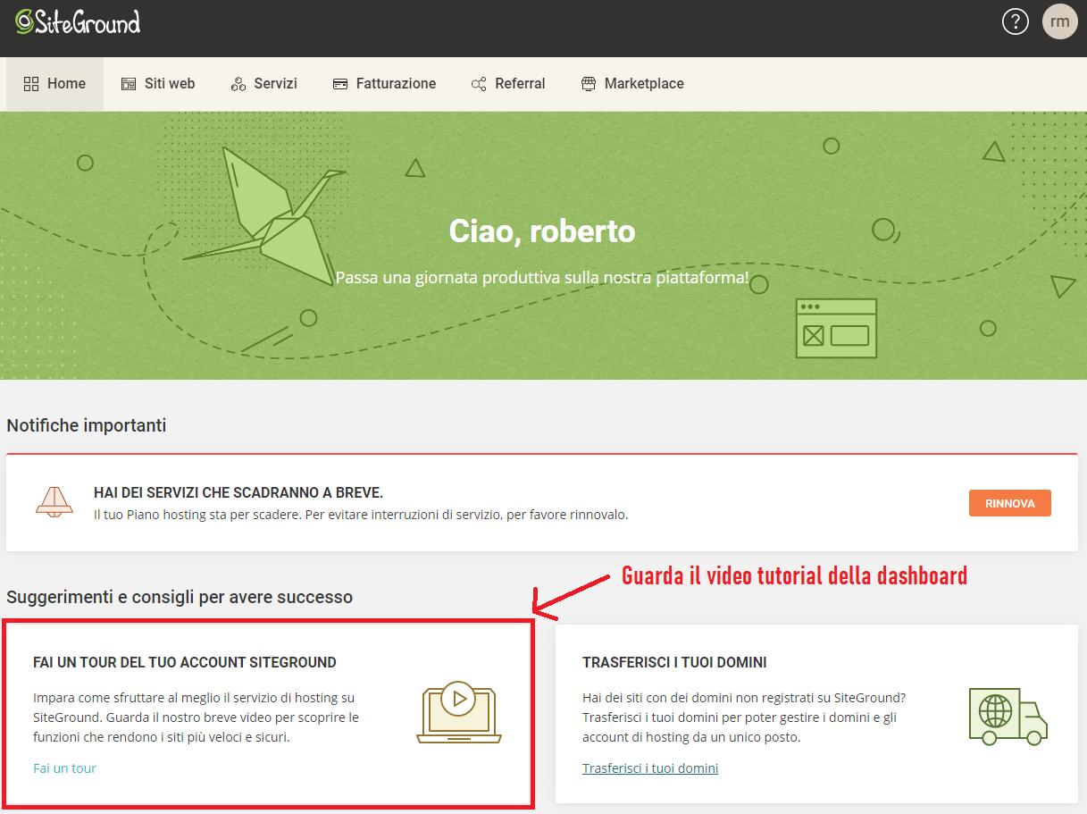 tutorial account siteground italia